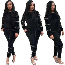 Fall&Winter Women Long Sleeve Black Velvet Beaded Casual Club Party Jumpsuit 2pc