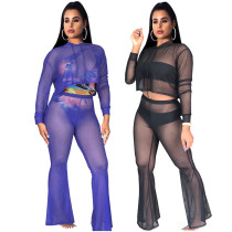Women Hooded Long Sleeve Mesh Sheer Casual Club Jumpsuit Vacation Beach Cover Up