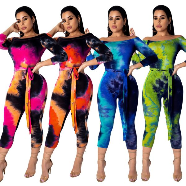 Women's Boat Neck 3/4 Sleeves Colorful Print Bodycon Cropped Jumpsuit with Belt