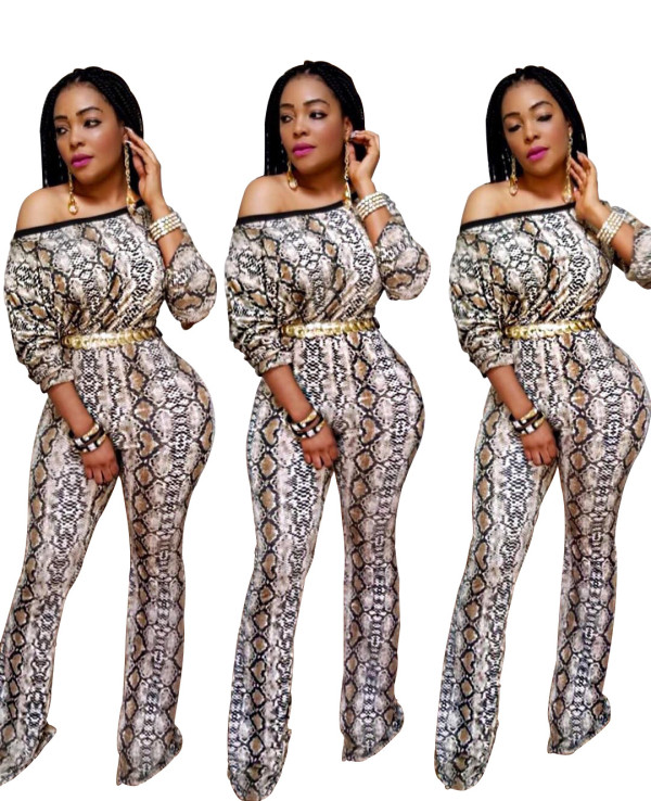 Women Oblique Sleeves Casual Club Party Bodycon Snakeskin Print Long Jumpsuit