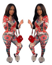 Fashion Women Floral Print Single-breasted Tops Casual Jumpsuit Pants Set 2pcs