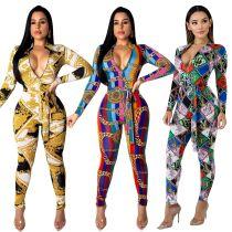 2019 Fashion Women Long Sleeve Zipper Chain Stripe Print Bodycon Long Jumpsuit