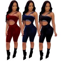 Women sleeveless bodycon short jumpsuit