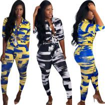Women blouses tops print casual club bodycon short jumpsuit pants set 2pc