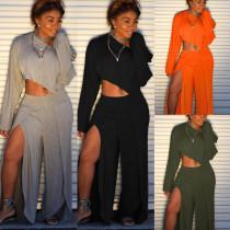 Women Long Sleeves Solid Color Loose High Slit Wide Leg Jumpsuit Pants Set 2pc
