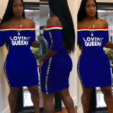 Women Off Shoulder Letter Print Stripes Casual Party Bodycon Club Mini Dress