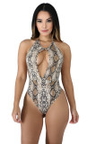 Women halter backless snakeskin print open front club party casual tops bodysuit