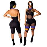 Women sleeveless backless mesh sheer patchwork bodycon club short jumpsuit