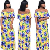 Women boat neck ruffled floral print casual club summer vacation long dress