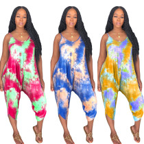 Women spaghetti strap Tie-dyed print casual club loose cropped jumpsuit