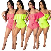 Women off shoulder ruffled solid color bodycon club party summer short jumpsuit