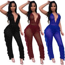 European and American explosions solid color wooden ear halter jumpsuit without underwear