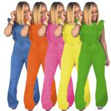 Women sleeveless ruffled casual bodycon long bell-bottoms jumpsuit