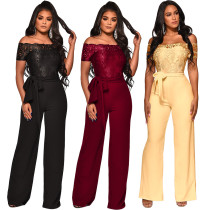 Women boat neck lace patchwork casual club party wide legs jumpsuit with belt