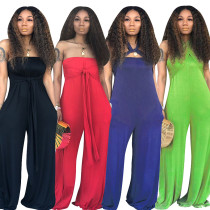 Women strapless bandage solid color casual club loose wide legs long jumpsuit