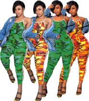 Women spaghetti strap camouflage print side strap bodycon club long jumpsuit