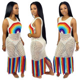 Sexy Women Sleeveless Big Hole Net Sheer Casual Beach Colorful Tassels Dress