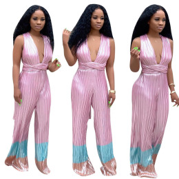 Women Sexy Deep V Neck Sleeveless Bandage Backless Casual Long Wide Leg Jumpsuit