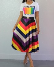 Women Fashion Colorful Stripe Print Casual Club Party Loose Pleated Dress Skirts