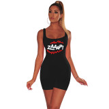 Women sleeveless letter cute print casual club party bodycon short jumpsuit