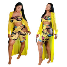 Women strapless snakeskin print club party hollow out summer beach outfits 2pc