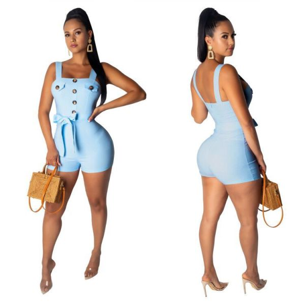 Women Spaghetti Strap Buttons Bandage Bodycon Zipper Casual Club Short Jumpsuit