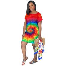 Women short sleeves colorful print casual club party mini shirt dress