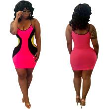 Women spaghetti strap colors patchwork casual club party bodycon mini dress