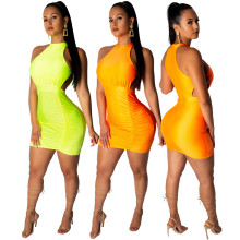 Women sleeveless hollow out draped solid color casual club party mini dress