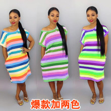 Women short sleeves colorful print casual club party loose cotton blend dress