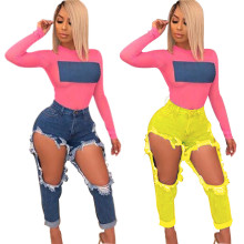 Women Fashion Sexy Destroyed Hole Pockets Skinny Casual Club Denim Pants Jeans