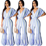 Women short sleeves V neck stripes casual club party bodycon ruffled jumpsuit