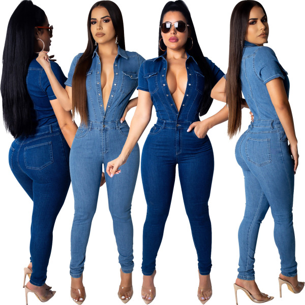 Women short sleeves single-breasted bodycon club party denim jeans jumpsuit