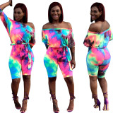 Women off shoulder colorful print casual club party mid short jumpsuit with belt