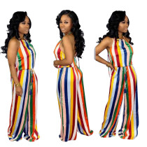 Sexy Summer Women Halter Bandage Colorful Stripes Sleeveless Backless Jumpsuit