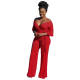 New Women 3/4 Sleeves V Neck Solid Color Casual Belt Loose Wide Legs Jumpsuits