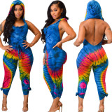 Women hooded Sleeveless backless print casual club party jumpsuit rompers