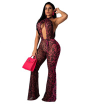 Women Sexy Halter Backless Leopard Print Chiffon Club Casual Wide Leg Jumpsuit
