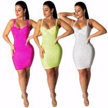 Women spaghetti strap rhinestones bodycon club party evening cocktail mini dress