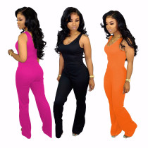 Women sleeveless solid color casual club party bell-bottoms long jumpsuit