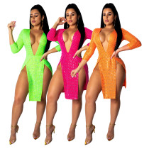 USWomen 3/4 Sleeves Deep V Neck Sexy High Side Slit Night Club Dress Solid Color
