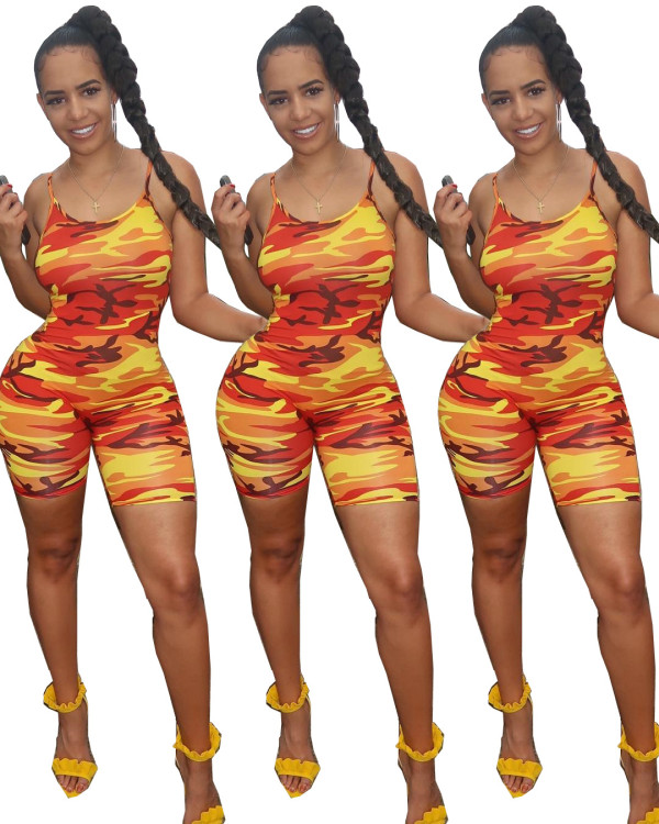 Women spaghetti strap camouflage print casual club party bodycon short jumpsuit