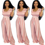 Summer women short sleeves stripes casual club party wide legs long jumpsuit