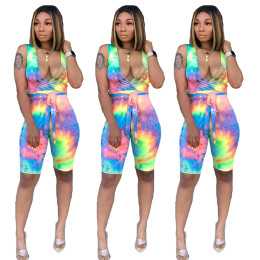 Women sleeveless V neck colorful print casual bodycon club jumpsuit with belt