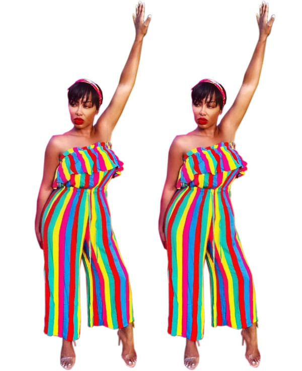 Women strapless ruffled colorful stripes casual club party wide legs jumpsuit