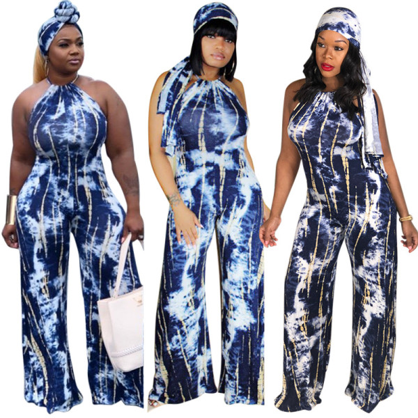 Women Halter Print Casual Club Party Bodycon Wide Legs Jumpsuit with Headband