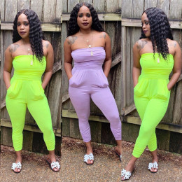 Women strapless solid color casual club party summer bodycon jumpsuit