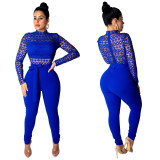 Women Long Sleeve Hollow Out Lace Patchwork Bodycon Club Party Casual Jumpsuit
