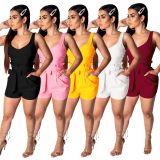 Women sleeveless solid color back zipper casual club summer short jumpsuit