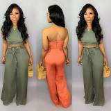 Women Sleeveless Zipper Backless Solid Belted Casual Summer Sexy Jumpsuit 2pcs